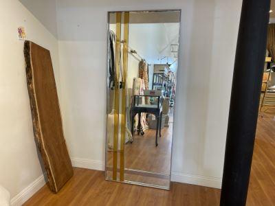 Full Length Chrome And Brass Modernist Mirror 31'W X 80'H