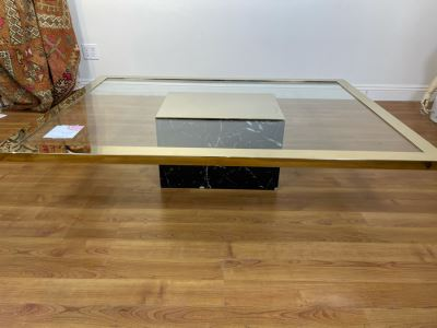 Glass Coffee Table With Brass Trim And Veneered Marble Base (Some Chips In Base - See Photos) 57'W X 42'D X 13'H