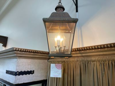 Antique Style Copper Lantern Light Fixture Retails $495