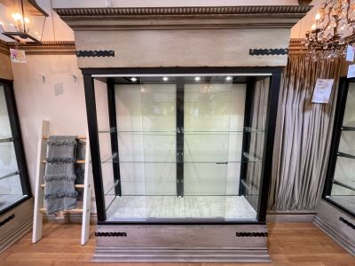 Custom Lighted Display Curio Cabinet With Sliding Glass Doors Perfect For Displaying Collections, Store Fixtures, Bookcases - Will Quote Delivery - There Are 5 Cabinets In This Sale - 81'W X 96'H X 24'D - Retails $2,250