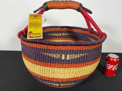 Alafiia Woven Basket Handmade In Ghana 16 X 15