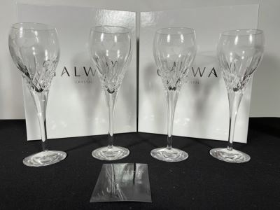 (2) New Sets Of Galway Crystal Claddagh Wine Pair Glasses 7.5H Retails $180