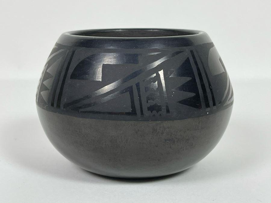 Native American Black Pottery Signed By Florence Naranjo San Ildefonso Pottery Santa Fe, NM 4W X 3H [Photo 1]
