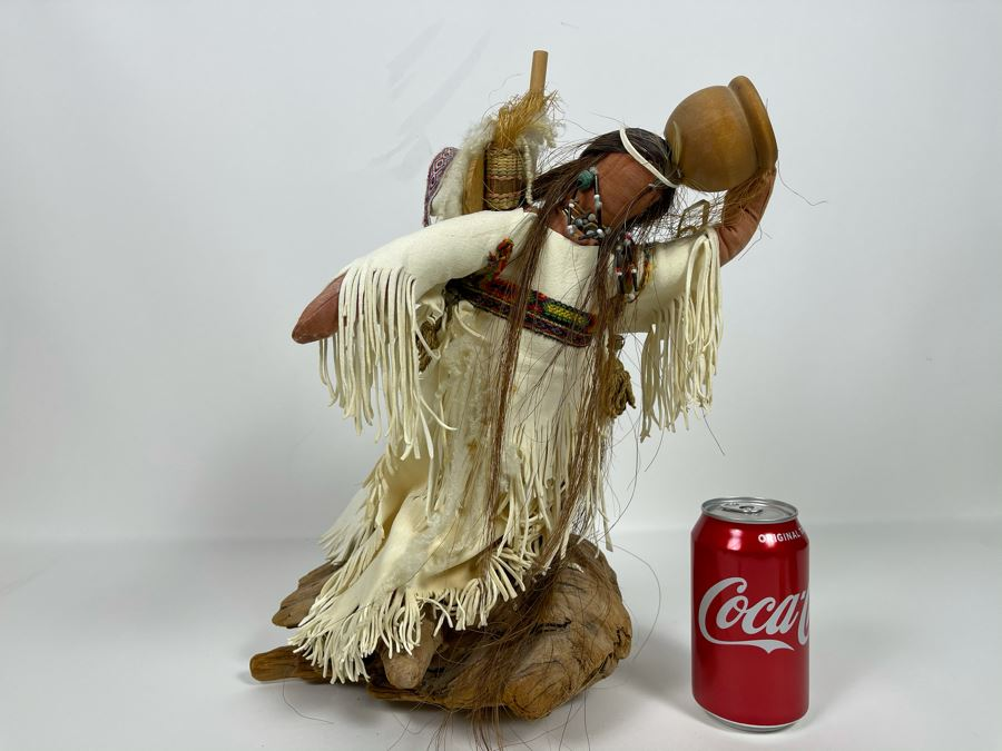 Vintage Native American Doll With Turquoise Jewelry, Papoose And Driftwood Base 16H