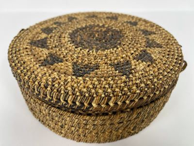 Vintage Woven Basket With Lid 8W X 3H