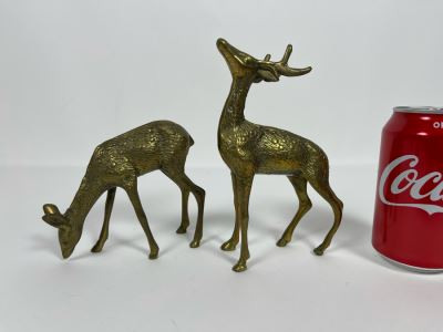 Pair Of Brass Deer 4.5W X 7H