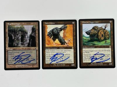 Brian Snoddy Signed Magic: The Gathering 'Artist Proof' Cards (Blank Back): Bog Wreckage, Junk Golem, Otarian Juggernaut From Wizards Of The Coast