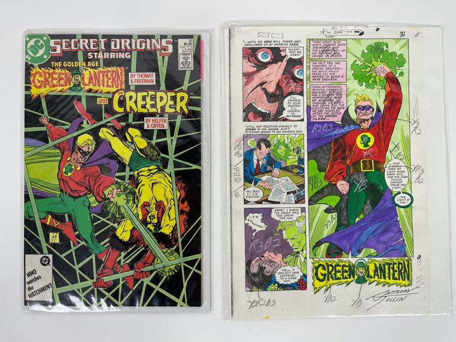 Signed Anthony Tollin Comic Book Inker Colorist Original Green Lantern Comic Book Color Sheet Page WITH Comic Book DC Secret Origins #18 Starring The Golden Age Green Lantern And The Creeper [Photo 1]