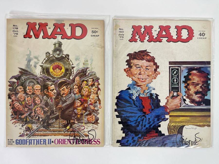 SIGNED Sergio Aragones PAIR Of Mad Magazines No. 178 1975 & No. 160 1973 [Photo 1]