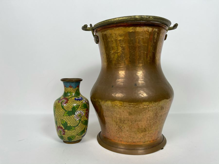 Vintage Turkish Hammered Copper Pot With Handle 9'H And Small Chinese Cloisonne Vase [Photo 1]
