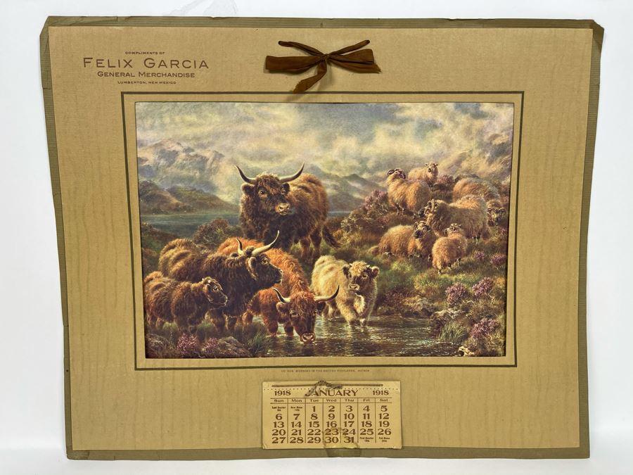 Antique 1918 Felix Garcia General Merchandise Advertising Wall Calendar Epherema 19 X 15 [Photo 1]