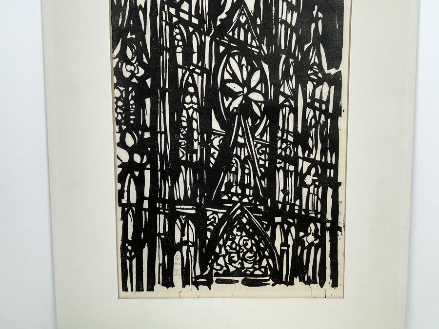 Vintage 1962 San Francisco Cathedral Wood Engraving Signed W With Enclosed Circle 26 Of 200 10 X 13 [Photo 1]
