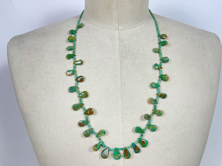 Native Turquoise Tear Drop Shaped Necklace With Sterling Silver Clasps 28'L [Photo 1]