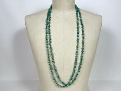 40' Long Turquoise Nuggets Strand Necklace With Sterling Silver Clasp