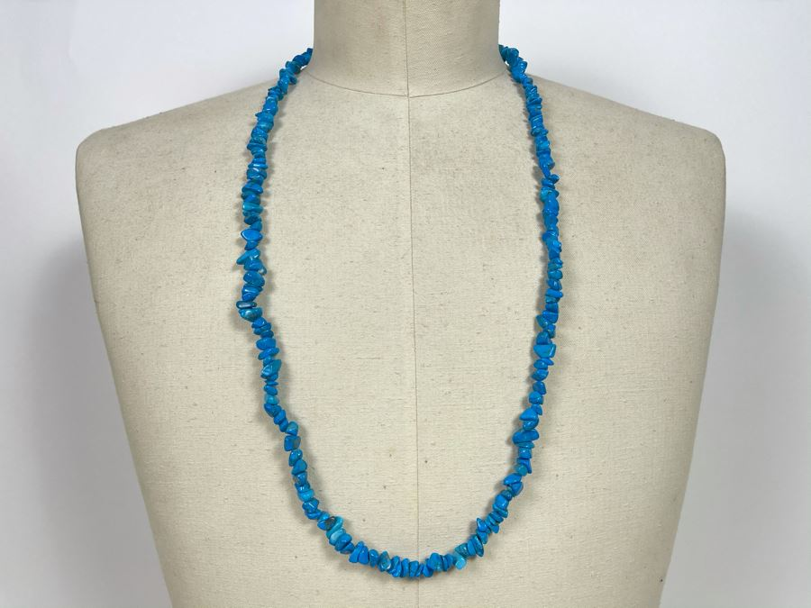 Turquoise Nuggets Strand Necklace 34'L