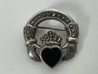 Vintage Sterling Silver / Onyx / Marcasites Pendant Signed 6g