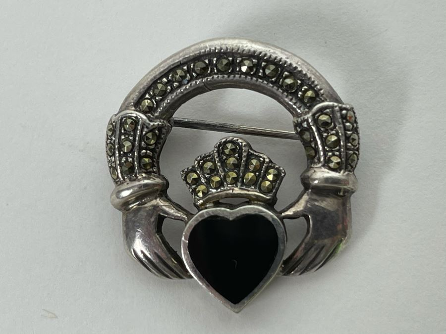 Vintage Sterling Silver / Onyx / Marcasites Pendant Signed 6g [Photo 1]