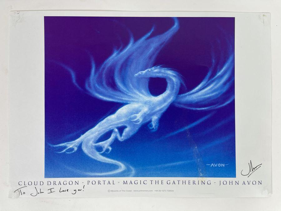 Signed John Avon Magic: The Gathering Cloud Dragon Portal Print 11.5 X 8.5