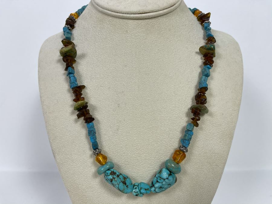 Native Turquoise / Amber Necklace With Sterling Silver Clasp 20L [Photo 1]