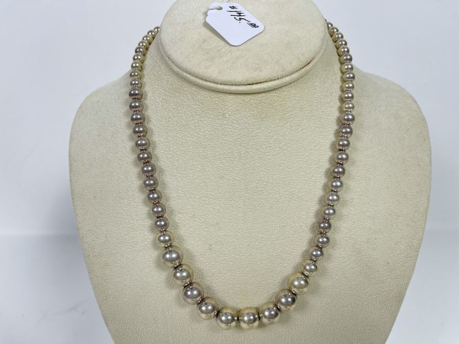 18'L Sterling Silver Graduated Round Beads Necklace 27g [Photo 1]