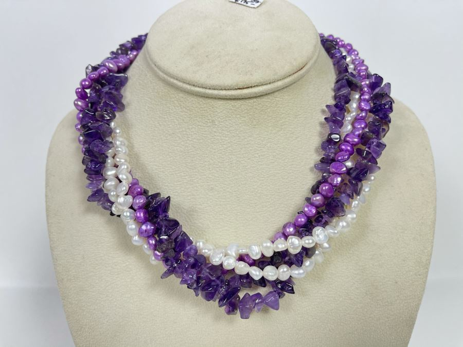 Statement Amethyst And Pearl Necklace With Sterling Silver Clasp 16'L Retails $195