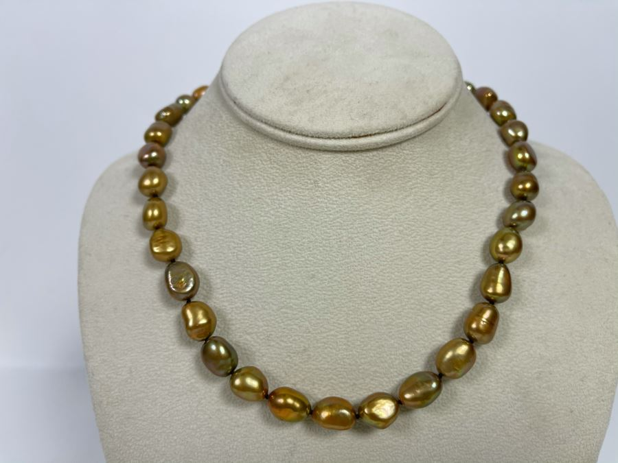 16' Pearl Necklace With Sterling Silver Clasp