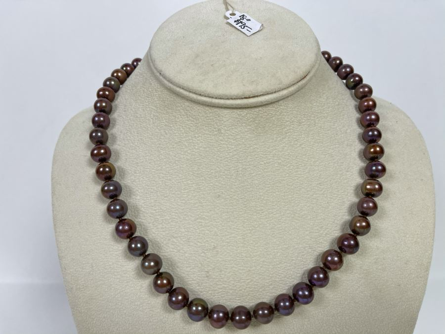 18' Pearl Necklace With Sterling Silver Clasp Retails $195 [Photo 1]