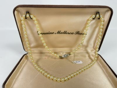 Vintage White Pearls Necklace With Sterling Silver Clasp With Original Mallorca Pearls Box Retails $150