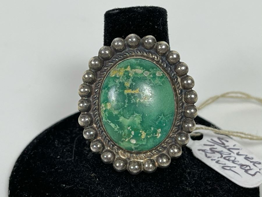 Vintage Sterling Silver Turquoise Ring Size 7 [Photo 1]