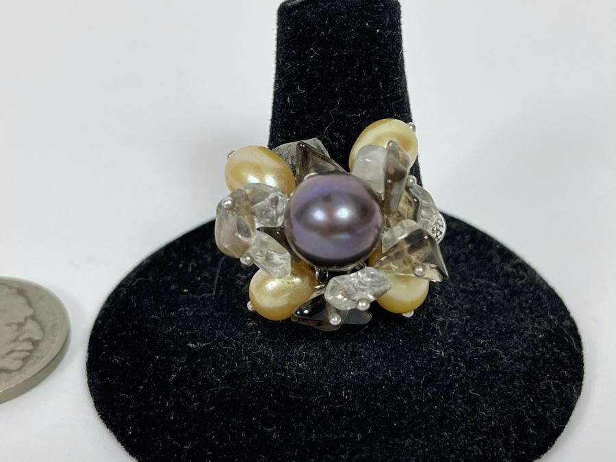 Sterling Silver Pearl Ring 7.5g Size 8.5 [Photo 1]