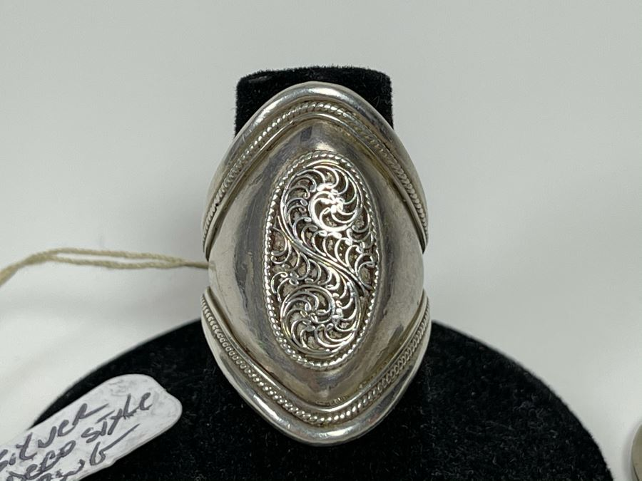 Sterling Silver Deco Style Ring 4.9g Size 7 [Photo 1]
