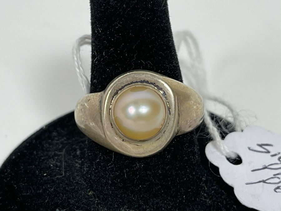 Sterling Silver Pink Pearl Ring Size 8 [Photo 1]