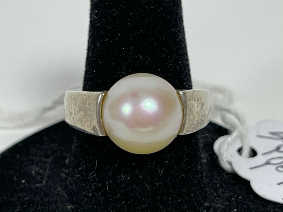 Sterling Silver Pinkish Pearl Ring 7g Size 7 Retails $75 [Photo 1]