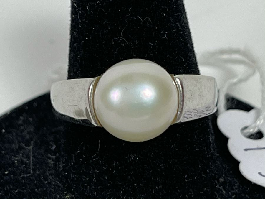 Sterling Silver Pinkish Pearl Ring 6.2g Size 8 Retails $75 [Photo 1]