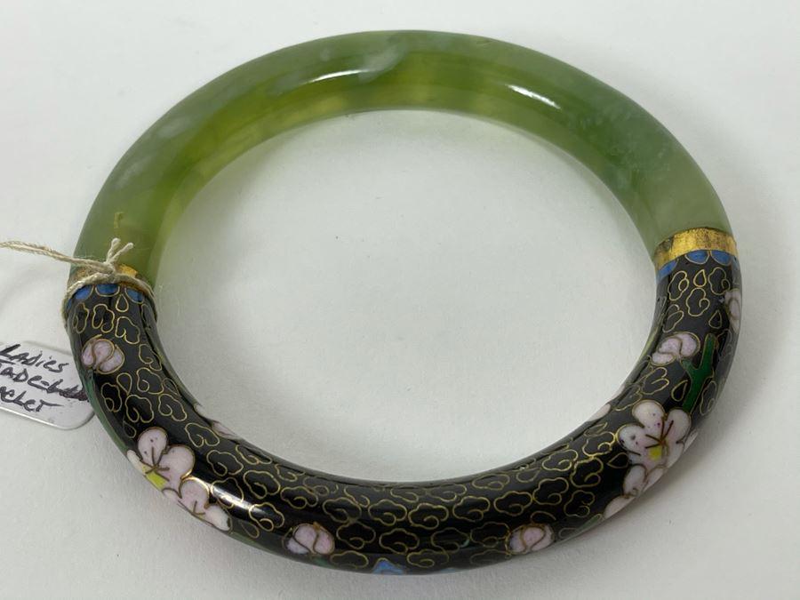 Ladies Jade Jadeite Cloisonne Bracelet 3.25R [Photo 1]