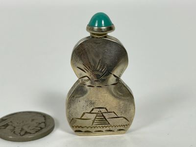 Sterling Silver Mexican Perfume Bottle With Turquoise Finial Top Dabber Signed RAG 5.4G