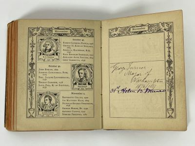 Antique Autograph Book Featuring Dozens Of Unresearched Autographs - One Featured In Photo Is George Turner Mayor Of Northampton 1876/1877 Some Signatures Date To 1820s