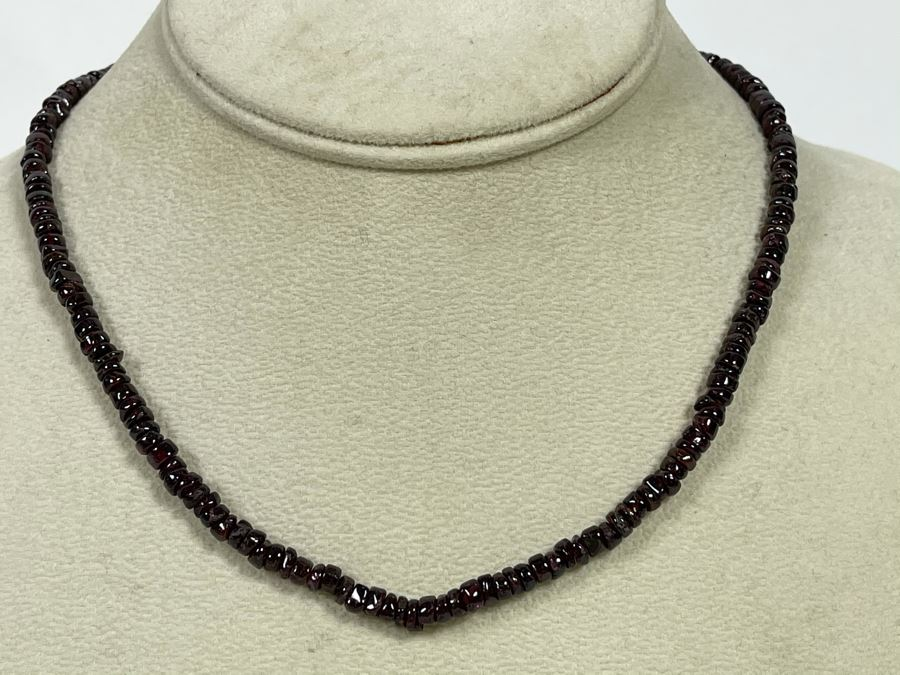 Amethyst Bead Necklace With Sterling Silver Rose Quartz Clasp 16L [Photo 1]