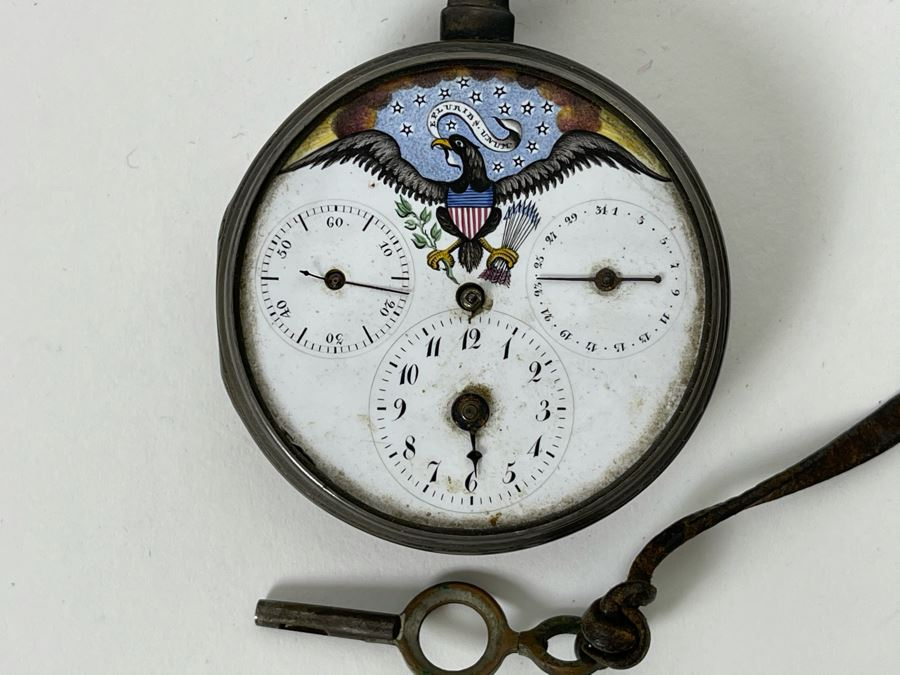 Antique Breguet & Fils Paris Pocket Watch With Hand Painted Porcelain Dial Featuring The Great Seal Of The United States With American Eagle - Has Key For Winding - In Need Of Repair (Breguet et Fils) [Photo 1]