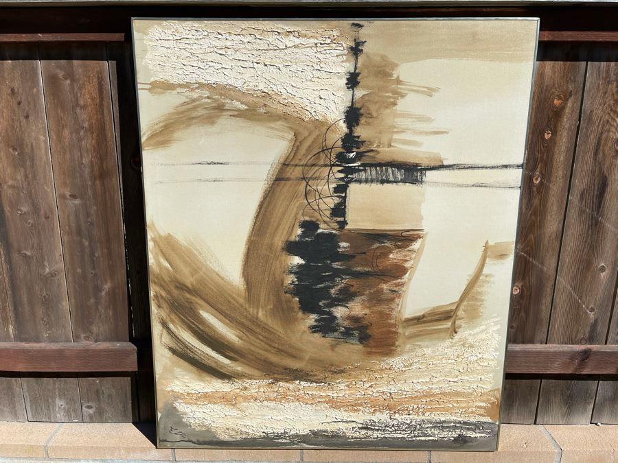 Original Etta Benjamin Cien (1924-2009) Framed Abstract Mid-Century Ship At Sea Oil Painting 42 X 50