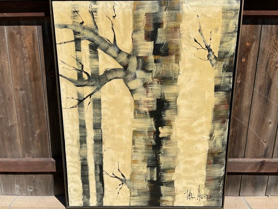 Original Framed Mid-Century Trees Oil Painting By Wes Andrews 41 X 51