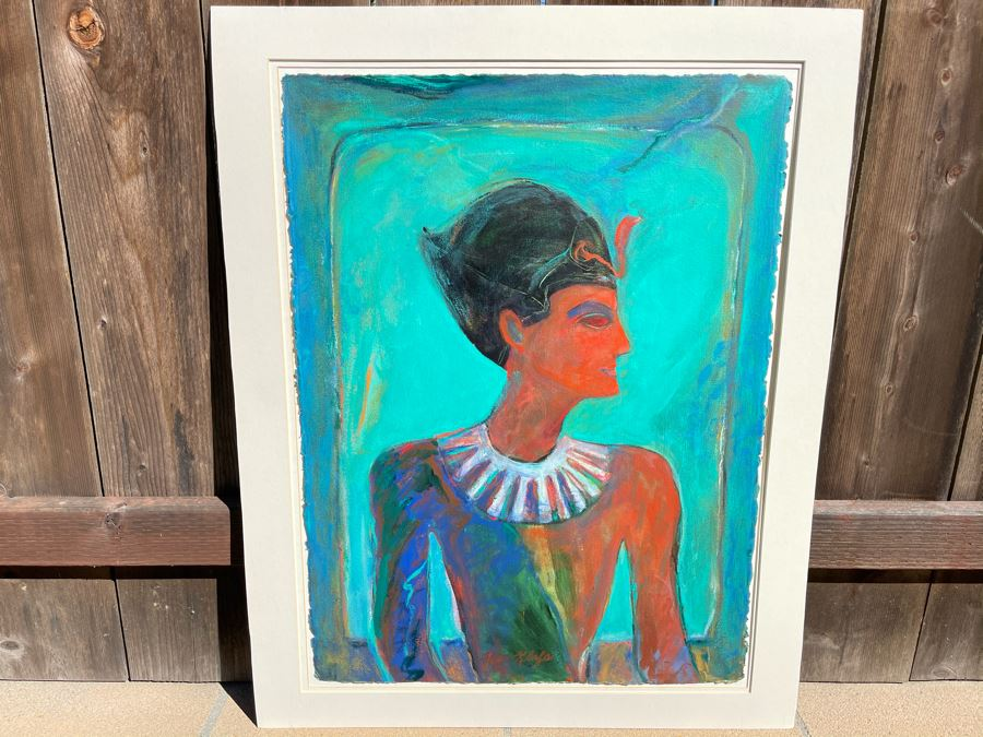 Original Jean Klafs Abstract Expressionist Egyptian Artwork Painting 23 X 30.5