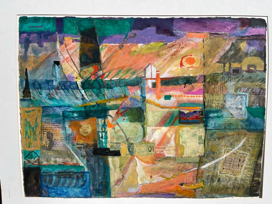 Original Jean Klafs Abstract Expressionist Mixed Media Artwork Painting 30 X 22