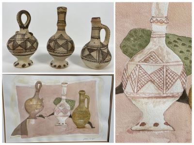 Original Jean Klafs Abstract Expressionist Watercolor Still Life Painting Titled 'Moroccan Riff Pots' With Rare Still Life Items (Moroccan Riff Pots) Featured In Painting 22 X 30