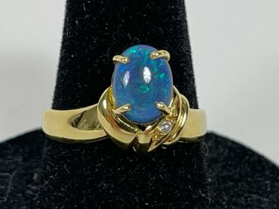 14K Gold Opal Ring Size 7.5 3.4g