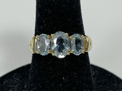 14K Gold Aquamarine Ring Size 5.75 2.6g