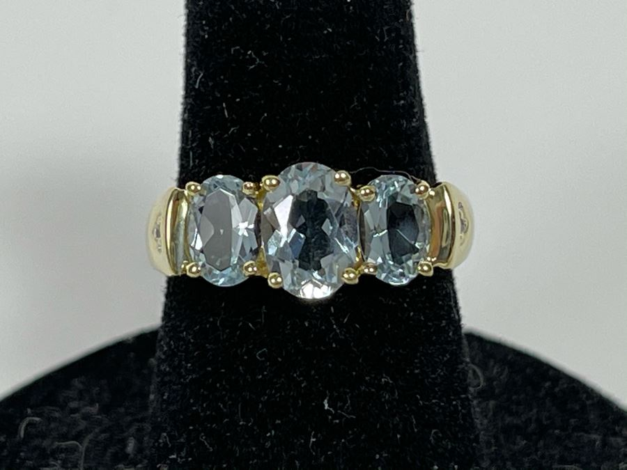 14K Gold Aquamarine Ring Size 5.75 2.6g [Photo 1]