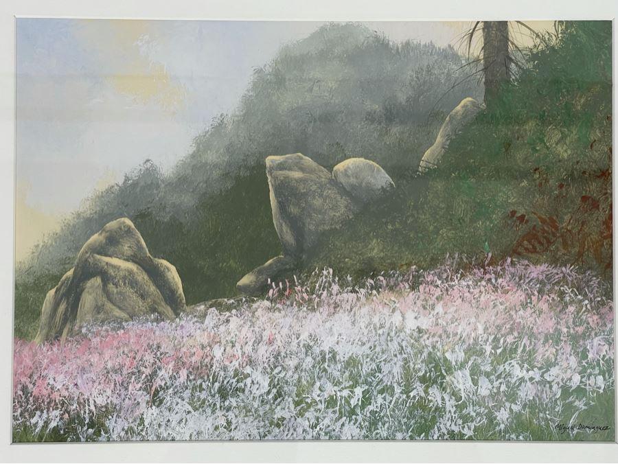 Original Framed Miguel Dominguez Plein Air Landscape Artwork 14 X 10