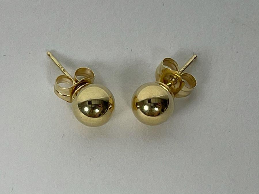 14k Gold Ball Stud Earrings 0.4g [Photo 1]