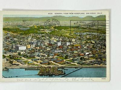 Vintage San Diego Postcard: General View From Aeroplan Postmarked 1931